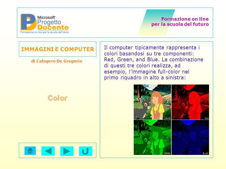 Formazione on line per la scuola del futuro IMMAGINI E COMPUTER di Calogero De Gregorio Color Il computer tipicamente rappresenta i colori basandosi s