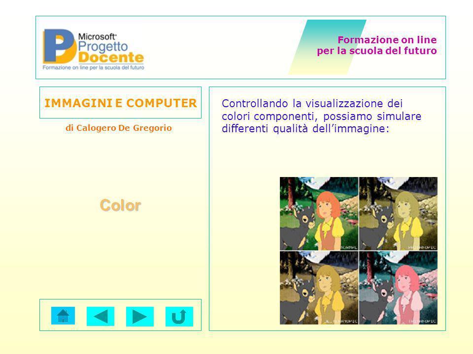 Formazione on line per la scuola del futuro IMMAGINI E COMPUTER di Calogero De Gregorio Color Controllando la visualizzazione dei colori componenti, p