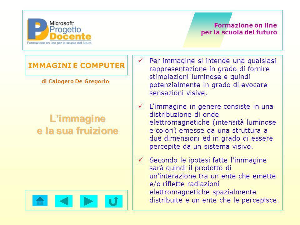 Formazione on line per la scuola del futuro IMMAGINI E COMPUTER di Calogero De Gregorio La rappresentazione eidetica è quel processo attraverso cui si passa dalla realtà, allimmagine della realtà (acquisizione di immagine).