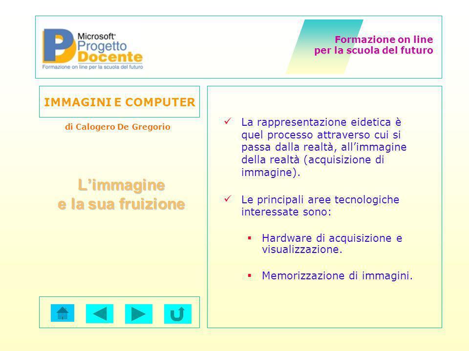 Formazione on line per la scuola del futuro IMMAGINI E COMPUTER di Calogero De Gregorio Lo standard JPEG è stato è stato sviluppato per la compressione di immagini statiche a tono continuo.