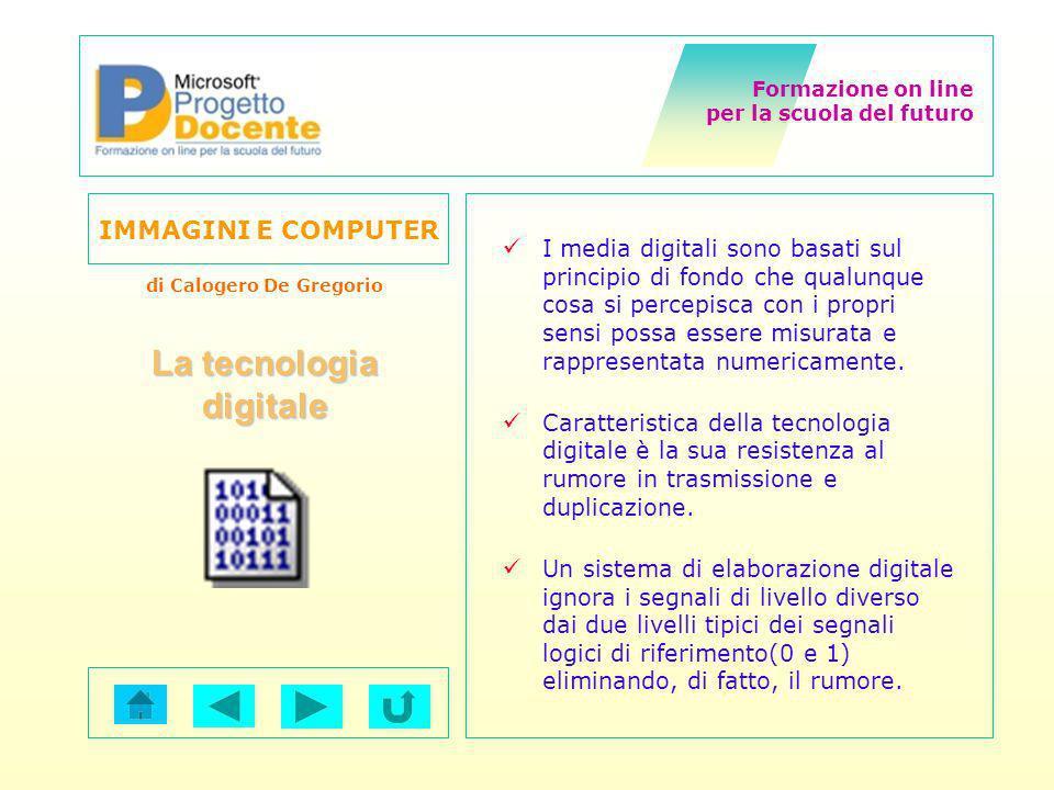 Formazione on line per la scuola del futuro IMMAGINI E COMPUTER di Calogero De Gregorio Le forme usuali in cui si presentano le immagini sono analogiche (cioè sia le coordinate spaziali che le intensità luminose assumono valori continui).