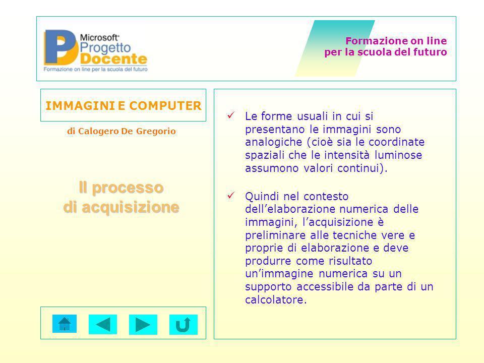 Formazione on line per la scuola del futuro IMMAGINI E COMPUTER di Calogero De Gregorio Le forme usuali in cui si presentano le immagini sono analogic