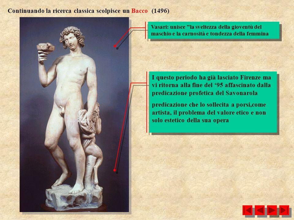 Continuando la ricerca classica scolpisce un Bacco (1496) Vasari: unisce la sveltezza della gioventù del maschio e la carnosità e tondezza della femmi