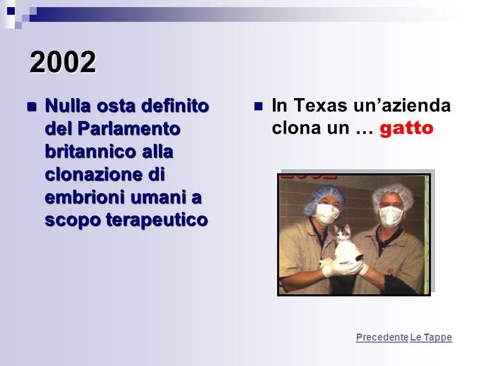 2002 Nulla osta definito del Parlamento britannico alla clonazione di embrioni umani a scopo terapeutico Nulla osta definito del Parlamento britannico
