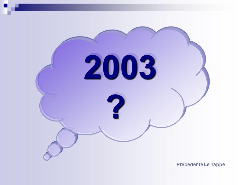2003 ? PrecedentePrecedente Le TappeLe Tappe