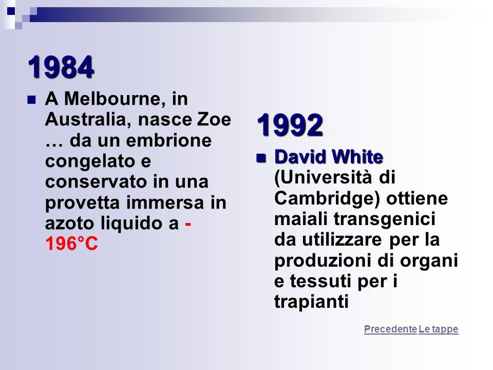 1984 A Melbourne, in Australia, nasce Zoe … da un embrione congelato e conservato in una provetta immersa in azoto liquido a - 196°C 1992 David White
