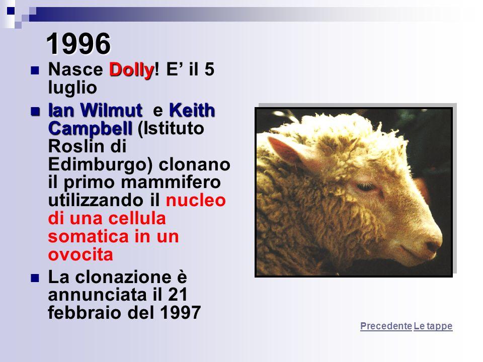1996 Dolly Nasce Dolly! E il 5 luglio Ian WilmutKeith Campbell Ian Wilmut e Keith Campbell (Istituto Roslin di Edimburgo) clonano il primo mammifero u