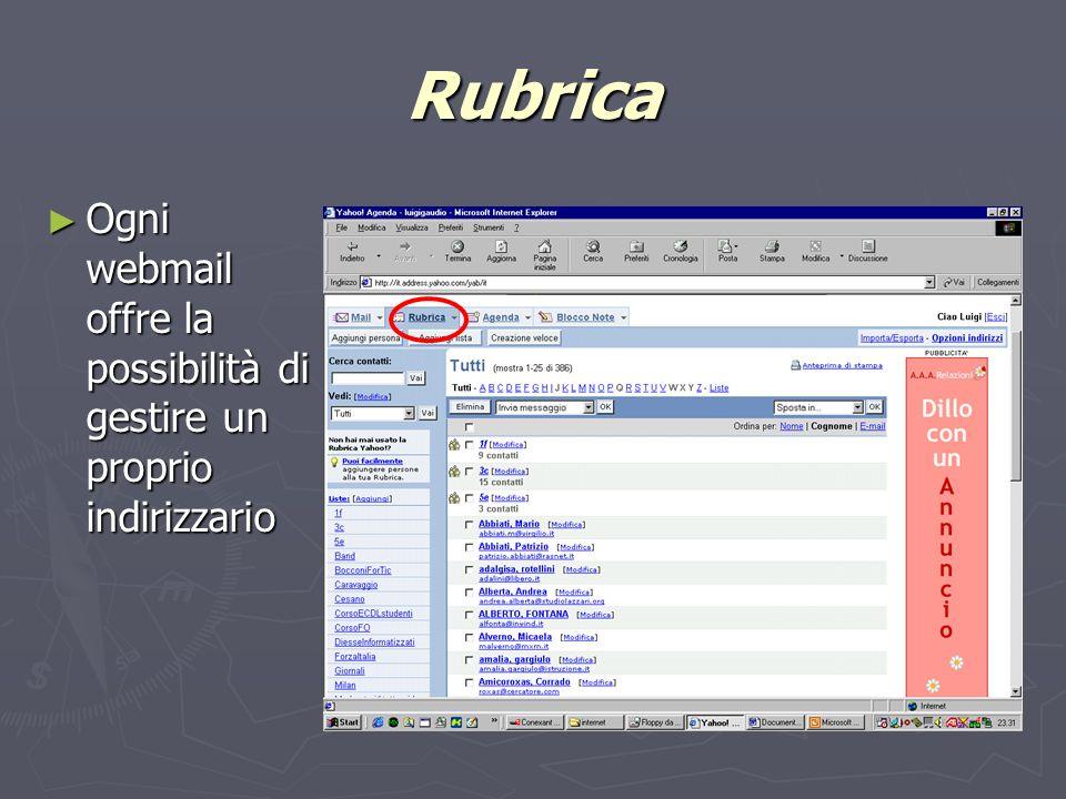 Rubrica Ogni webmail offre la possibilità di gestire un proprio indirizzario Ogni webmail offre la possibilità di gestire un proprio indirizzario