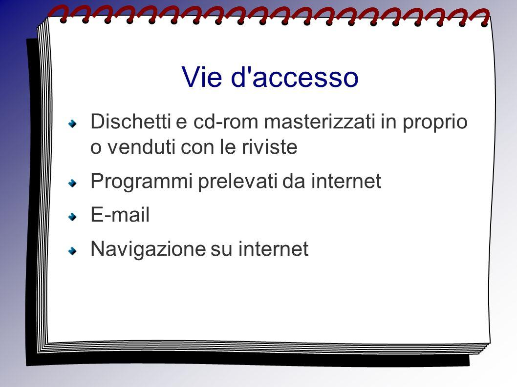 Vie d'accesso Dischetti e cd-rom masterizzati in proprio o venduti con le riviste Programmi prelevati da internet E-mail Navigazione su internet