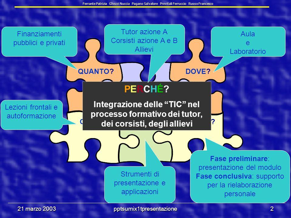 21 marzo 2003pptsumix1tpresentazione72 Unità centrale di elaborazione (CPU ) Esegue le istruzioni di calcolo e di confronto tra i dati Controlla le operazioni di ingresso e uscita dei dati Prestazioni Velocità di esecuzione delle istruzioni.