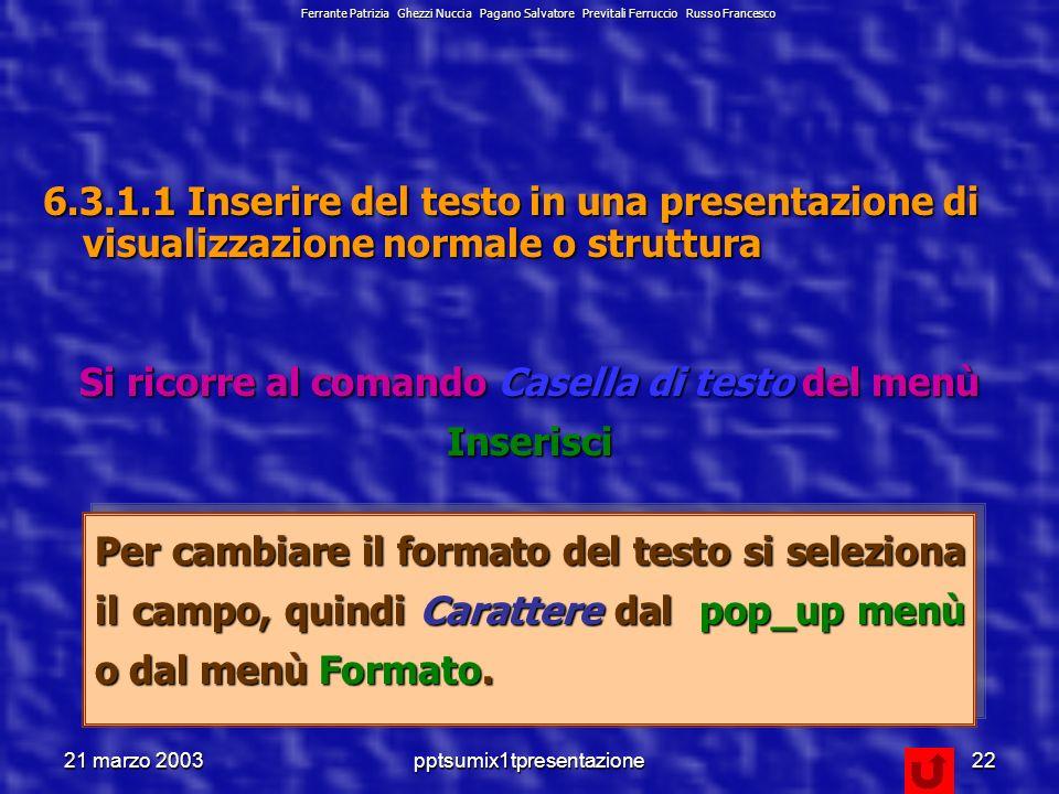 21 marzo 2003pptsumix1tpresentazione21 6.3 Testi e Immagini Scusate, ma non sapevo cosa abbinare al concetto di formattazione.