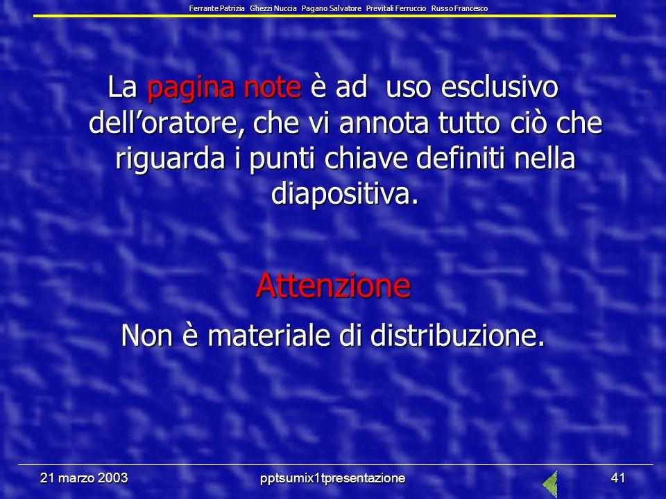 21 marzo 2003pptsumix1tpresentazione40 6.6.1.4 Modificare lorientamento della diapositiva: in orizzontale o in verticale.