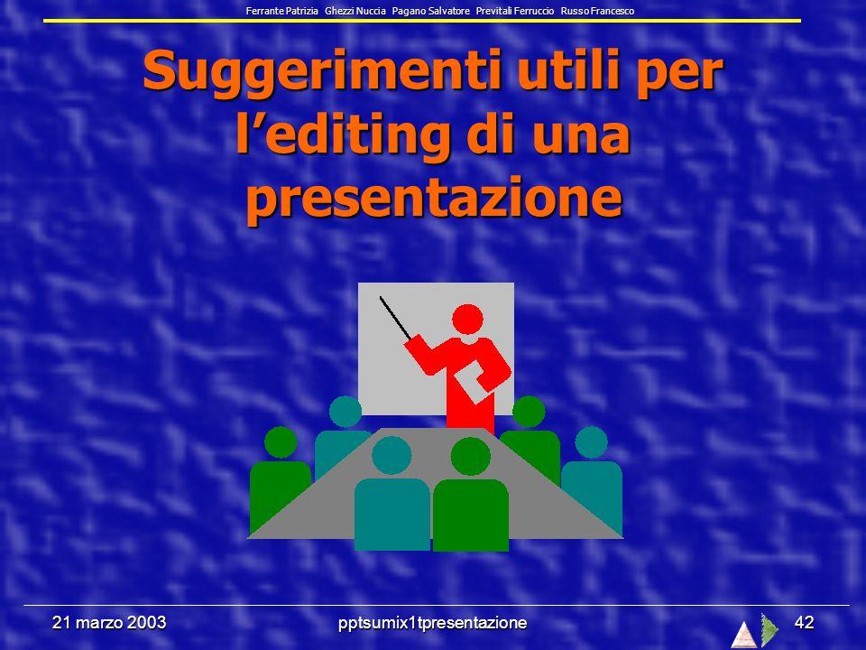 21 marzo 2003pptsumix1tpresentazione41 La pagina note è ad uso esclusivo delloratore, che vi annota tutto ciò che riguarda i punti chiave definiti nella diapositiva.