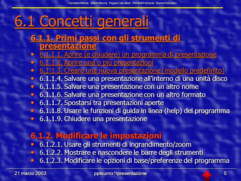 21 marzo 2003pptsumix1tpresentazione25 6.3.1.8 Allineare un testo a sinistra, al centro, a destra o giustificarlo Selezioniamo una casella di testo, menù Formato, Formato, comando Interlinea 6.3.1.9 Adattare linterlinea prima o dopo gli elementi di elenchi puntati e numerati Selezioniamo una casella di testo, menù Formato, Formato, comando Allineamento Ferrante Patrizia Ghezzi Nuccia Pagano Salvatore Previtali Ferruccio Russo Francesco