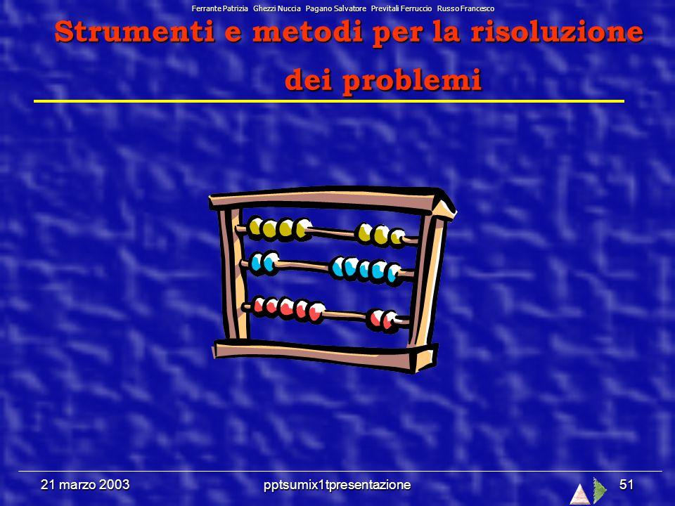 21 marzo 2003pptsumix1tpresentazione50 Le diapositive hanno un colore di sfondo diversificato a seconda dellargomento affrontato.