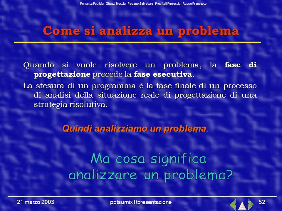 pptsumix1tpresentazione51 21 marzo 2003 Strumenti e metodi per la risoluzione dei problemi Ferrante Patrizia Ghezzi Nuccia Pagano Salvatore Previtali Ferruccio Russo Francesco