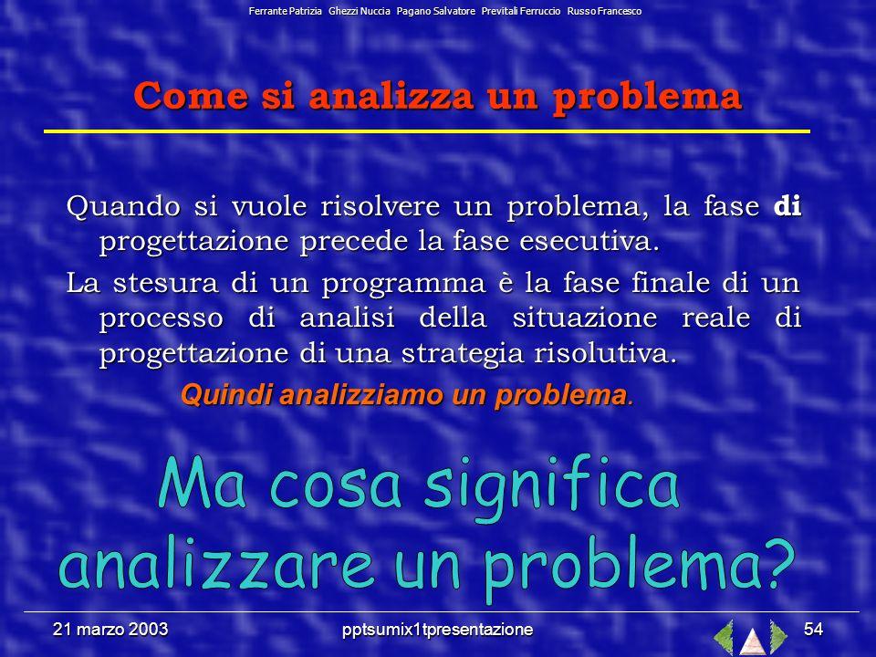 21 marzo 2003pptsumix1tpresentazione53 Come si analizza un problema Leggere attentamente e comprendere il testo; Leggere attentamente e comprendere il testo; Definire lobiettivo; Definire lobiettivo; Estrapolare i dati essenziali; Estrapolare i dati essenziali; Eseguire la formalizzazione del problema mediante un modello (verbale, grafico, tabellare, fisico, algebrico, grafo ad albero, diagramma, ecc.); Eseguire la formalizzazione del problema mediante un modello (verbale, grafico, tabellare, fisico, algebrico, grafo ad albero, diagramma, ecc.); Individuare la strategia risolutiva; Individuare la strategia risolutiva; Generalizzare.