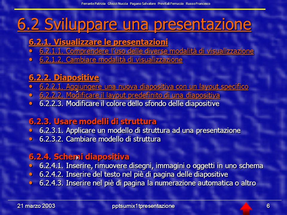 21 marzo 2003pptsumix1tpresentazione46 Supporti visivi - 3 Proiettore diapositive di sicuro effetto visivo, grazie anche allambiente che richiede, è una tecnologia costosa e poco flessibile (dia fisse) Ferrante Patrizia Ghezzi Nuccia Pagano Salvatore Previtali Ferruccio Russo Francesco