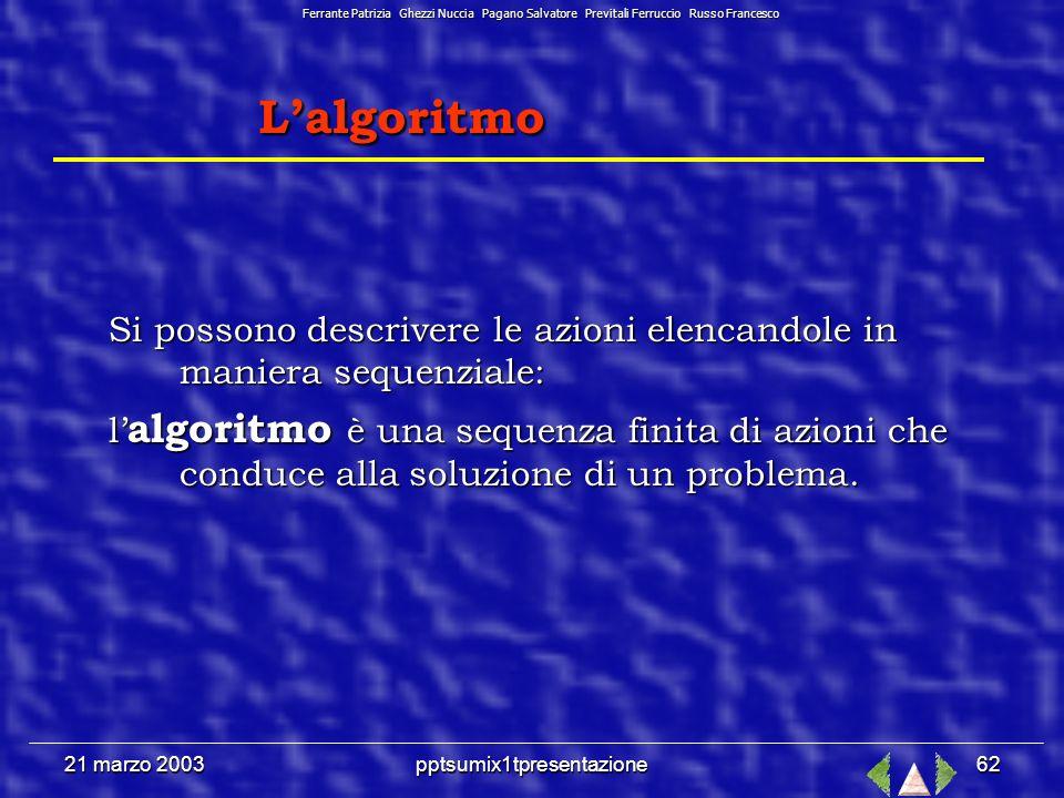 21 marzo 2003pptsumix1tpresentazione61 Così possiamo definire la struttura dei dati come gli oggetti del problema sommati alla relazione fra gli oggetti.