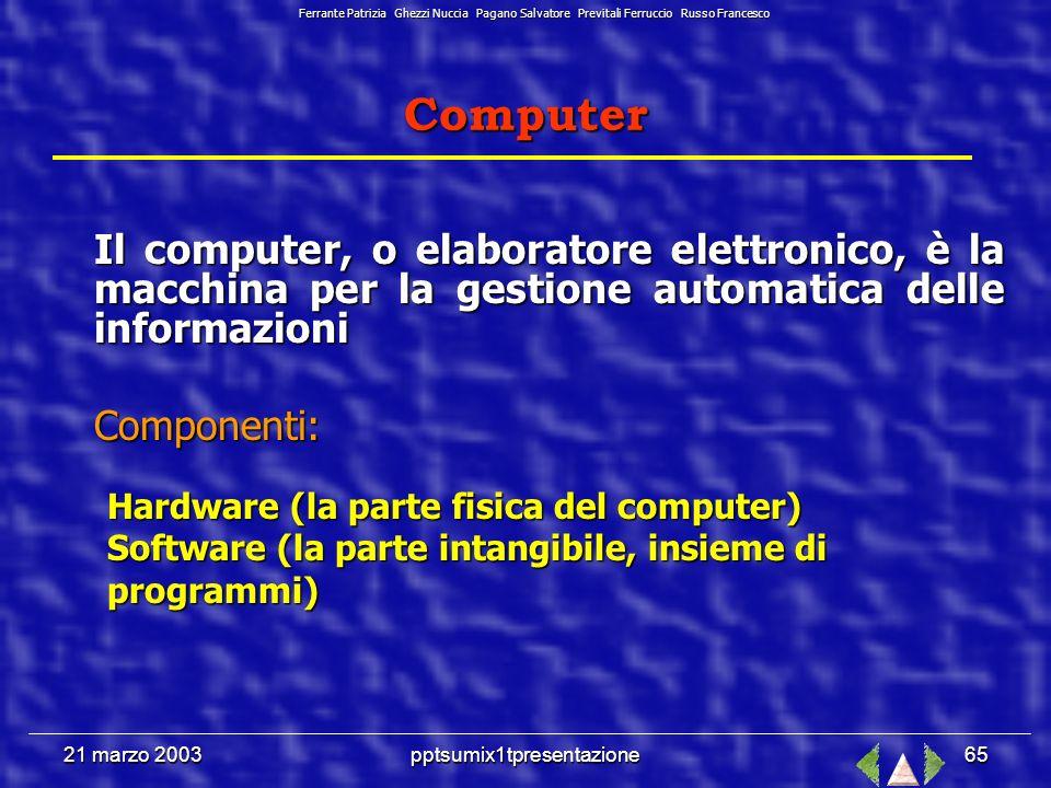 21 marzo 2003pptsumix1tpresentazione64 Ora facciamo risolvere tutto al Personal Computer al Personal Computer … Ferrante Patrizia Ghezzi Nuccia Pagano Salvatore Previtali Ferruccio Russo Francesco