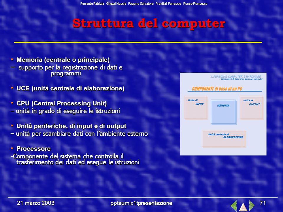 21 marzo 2003pptsumix1tpresentazione70 Schema di elaborazione dati Ferrante Patrizia Ghezzi Nuccia Pagano Salvatore Previtali Ferruccio Russo Francesco