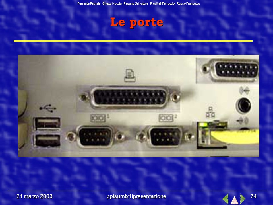 21 marzo 2003pptsumix1tpresentazione73 z PORTA SERIALE - z PORTA SERIALE - (COM1-COM2) a 25 o 9 pin 1 bit alla volta Inviare e ricevere dati tra le periferiche e il computer (modem) z PORTA PARALLELA - z PORTA PARALLELA - (LPT1-LPT2) 25 fori 8 bit alla volta E nata per connettere i dispositivi di stampa (LPT=Line PrinTer) z PORTA SCSI - z PORTA SCSI - bus a 8 bit Supporta fino a 7 periferiche in cascata che richiedono alta velocità di trasferimento USB z PORTA USB - bus seriale a 12 milioni di bit al secondo Supporta un bus di 127 elementi in cascata z PORTA IrDA z PORTA IrDA - trasmissioni di tipo seriale tramite infrarossi Le porte Ferrante Patrizia Ghezzi Nuccia Pagano Salvatore Previtali Ferruccio Russo Francesco
