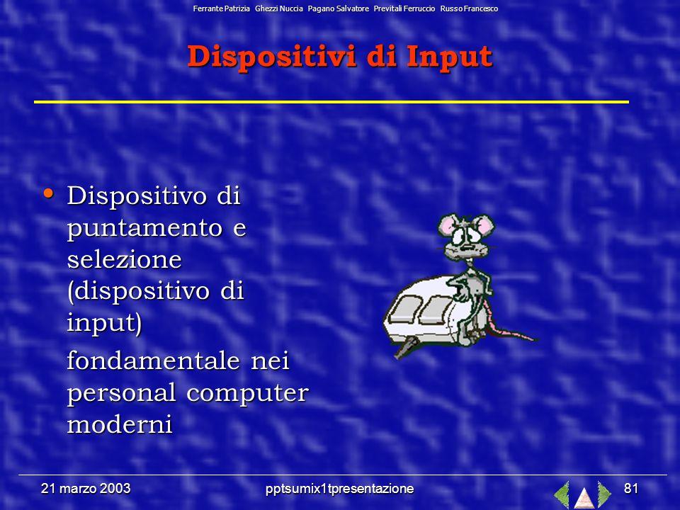 21 marzo 2003pptsumix1tpresentazione80 Memorie di Archiviazione HARD DISK E il magazzino del computer.