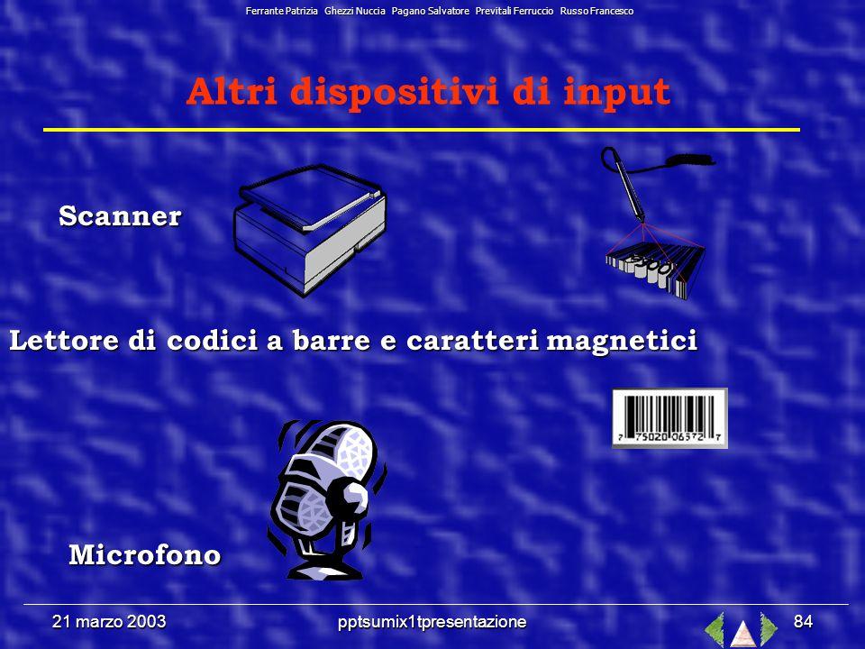21 marzo 2003pptsumix1tpresentazione83 Dispositivi di Input Principale sistema di input Principale sistema di input Ferrante Patrizia Ghezzi Nuccia Pagano Salvatore Previtali Ferruccio Russo Francesco