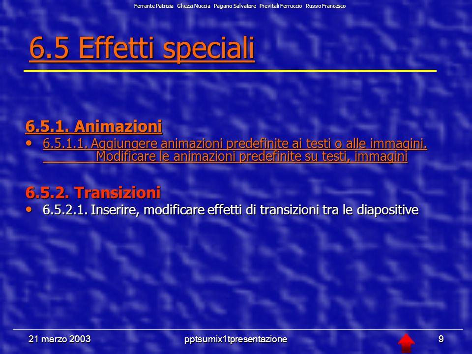21 marzo 2003pptsumix1tpresentazione39 6.6.1.3 Aggiungere delle note per chi presenta le diapositive Menù Visualizza comando Pagine note, oppure si seleziona il tasto visualizzazione pagine note della barra di visualizzazione (diapositiva 12).