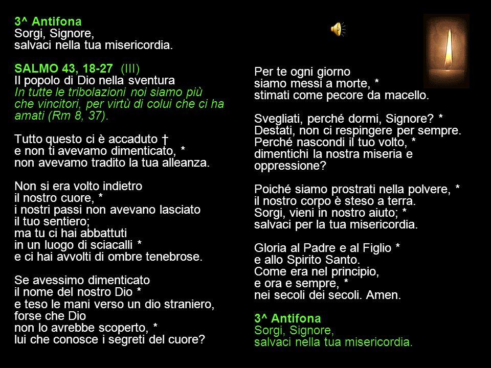 2^ Antifona Perdona il tuo popolo, Signore; non ci esporre alla vergogna. SALMO 43, 10-17 (II) Il popolo di Dio nella sventura In tutte le tribolazion
