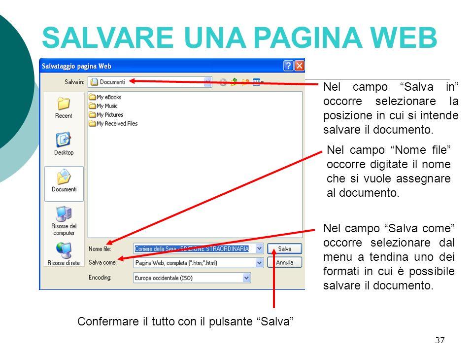 38 POSSIBILI FORMATI DI SALVATAGGIO Pagina Web solo HTML: in questo caso viene salvato solo il codice HTML e vengono persi gli elementi grafici.