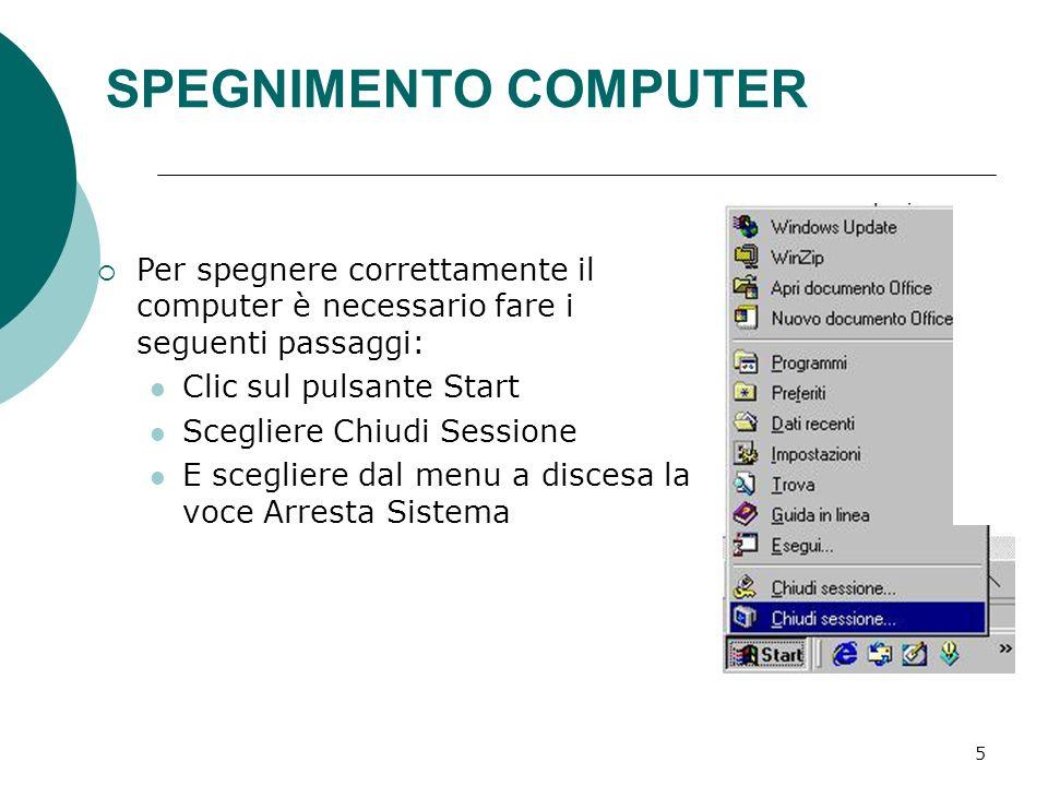 6 RIAVVIO COMPUTER Per riavviare il computer è sufficiente scegliere dal pulsante Start la voce Chiudi Sessione, e dal menu a discesa della finestra che appare scegliere la voce Riavvia il Sistema
