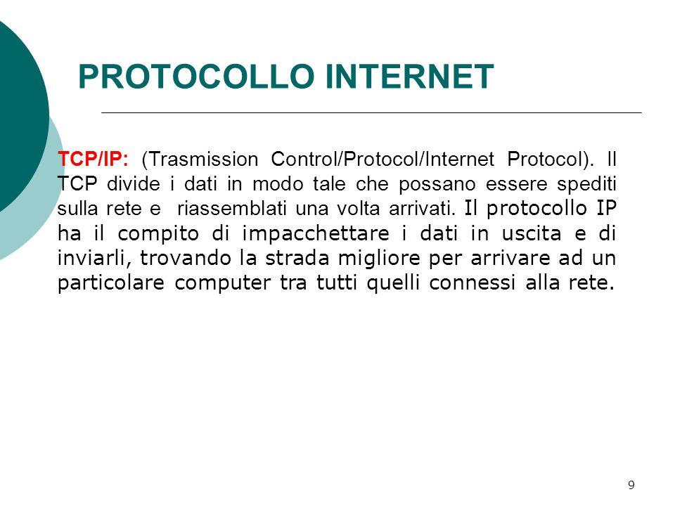 10 HTTP: (Hyper Text Transfert Protocol) Protocollo di trasferimento per le pagine Web.