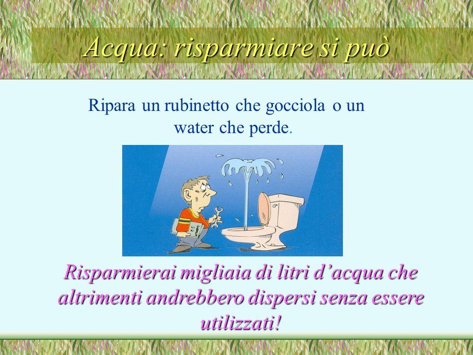 Acqua: risparmiare si può Ripara un rubinetto che gocciola o un water che perde.