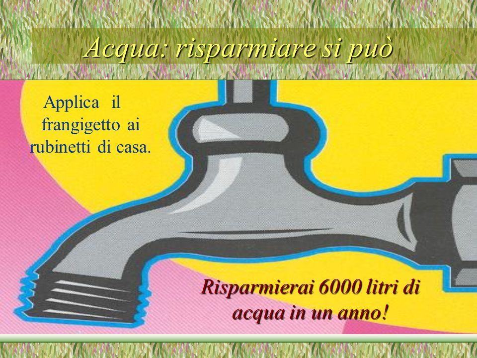 Acqua: risparmiare si può Applica il frangigetto ai rubinetti di casa. Risparmierai 6000 litri di acqua in un anno!