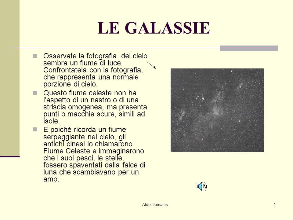Aldo Demartis1 LE GALASSIE Osservate la fotografia del cielo sembra un fiume di luce.