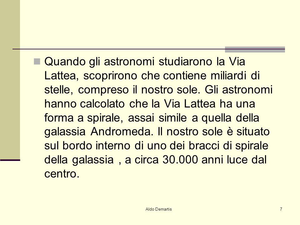 Aldo Demartis7 Quando gli astronomi studiarono la Via Lattea, scoprirono che contiene miliardi di stelle, compreso il nostro sole.