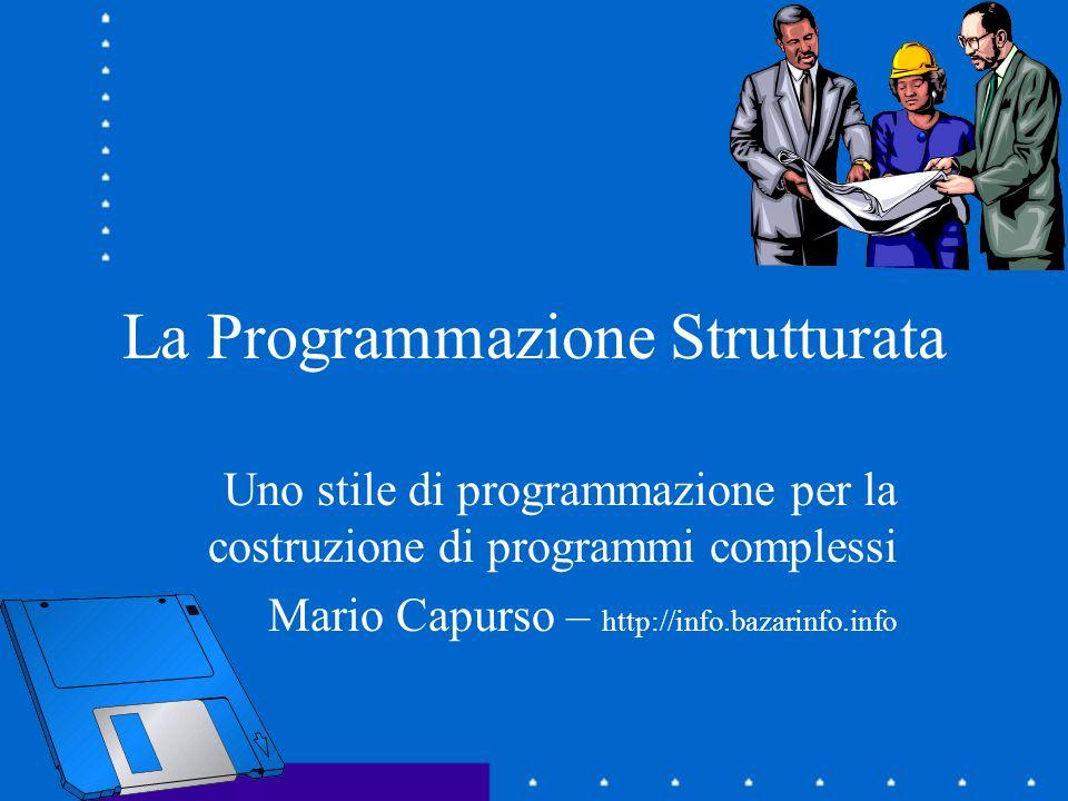 La Programmazione Strutturata E uno stile di programmazione … Introdotto da Edsger W.