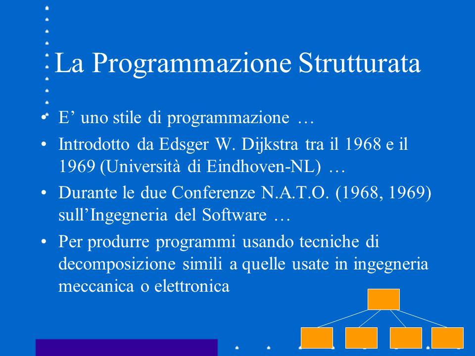 La Programmazione Strutturata E uno stile di programmazione … Introdotto da Edsger W. Dijkstra tra il 1968 e il 1969 (Università di Eindhoven-NL) … Du