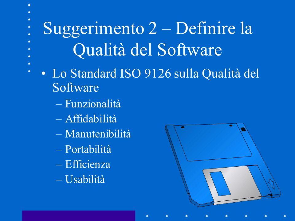 Suggerimento 2 – Definire la Qualità del Software Lo Standard ISO 9126 sulla Qualità del Software –Funzionalità –Affidabilità –Manutenibilità –Portabi