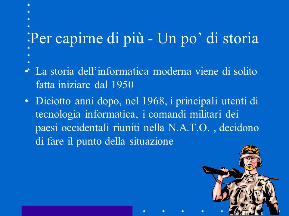Per capirne di più - Un po di storia La storia dellinformatica moderna viene di solito fatta iniziare dal 1950 Diciotto anni dopo, nel 1968, i princip