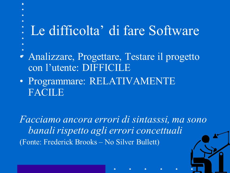 Le difficolta di fare Software Analizzare, Progettare, Testare il progetto con lutente: DIFFICILE Programmare: RELATIVAMENTE FACILE Facciamo ancora er