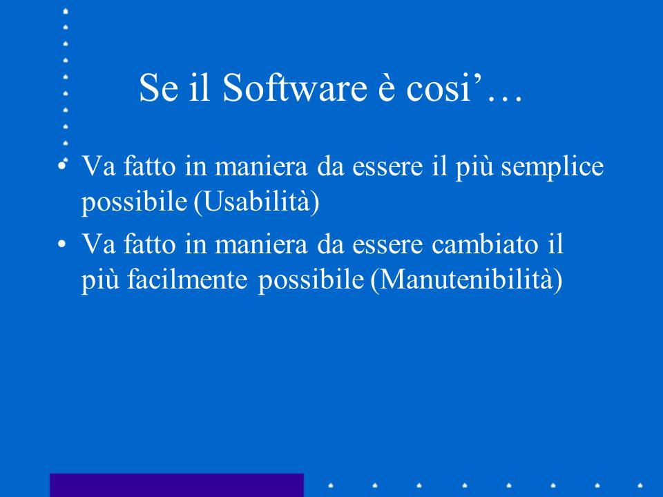 Se il Software è cosi… Va fatto in maniera da essere il più semplice possibile (Usabilità) Va fatto in maniera da essere cambiato il più facilmente po