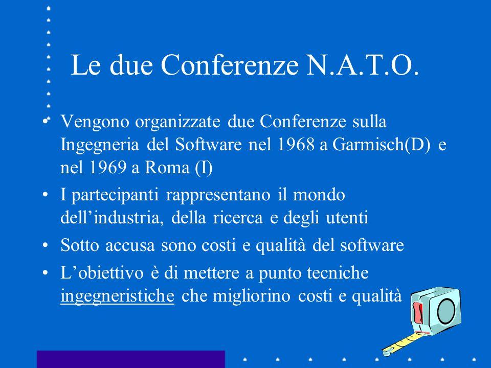Le due Conferenze N.A.T.O. Vengono organizzate due Conferenze sulla Ingegneria del Software nel 1968 a Garmisch(D) e nel 1969 a Roma (I) I partecipant
