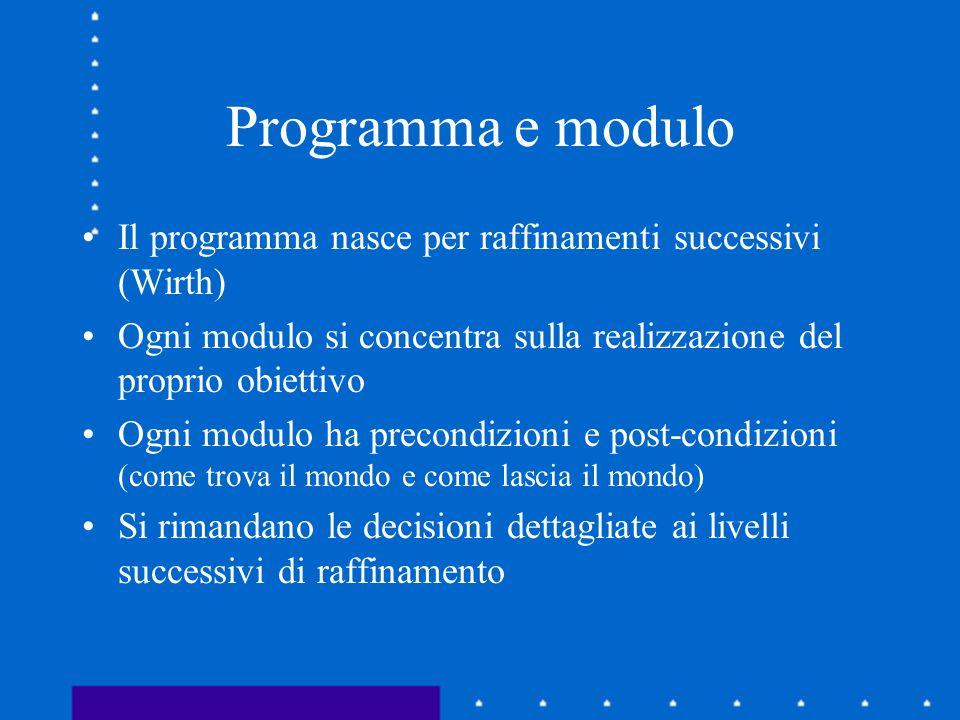 Programma e modulo Il programma nasce per raffinamenti successivi (Wirth) Ogni modulo si concentra sulla realizzazione del proprio obiettivo Ogni modu
