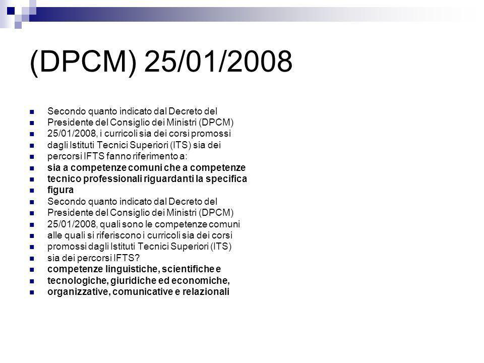 (DPCM) 25/01/2008 Nel Decreto del Presidente del Consiglio dei Ministri (DPCM) 25/01/2008, gli stage aziendali e i tirocini formativi, sia dei corsi promossi dagli Istituti Tecnici Superiori (ITS) sia dei percorsi IFTS, sono obbligatori in quale percentuale rispetto al monte ore complessivo.