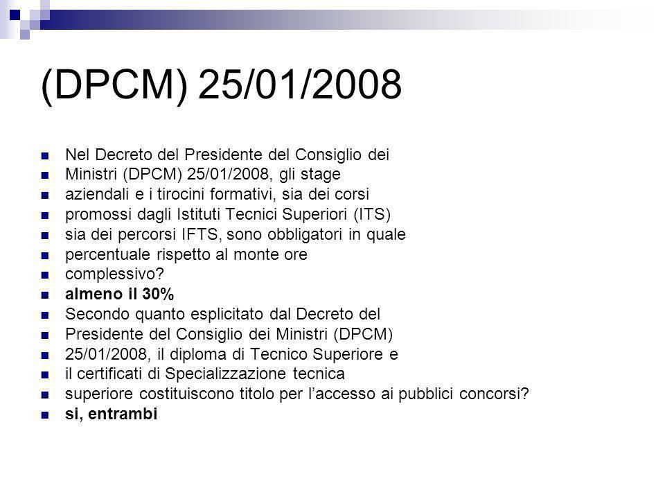 (DPCM) 25/01/2008 Secondo quanto previsto dal Decreto del Presidente del Consiglio dei Ministri (DPCM) 25/01/2008, qual è il soggetto che esercita il controllo sullamministrazione delle Fondazioni ITS.