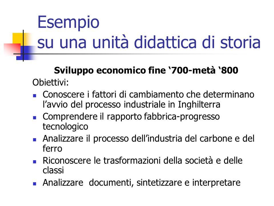 Esempio su una unità didattica di storia Sviluppo economico fine 700-metà 800 Obiettivi: Conoscere i fattori di cambiamento che determinano lavvio del