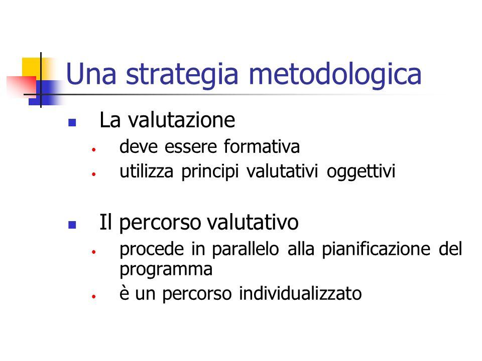 Una strategia metodologica La valutazione deve essere formativa utilizza principi valutativi oggettivi Il percorso valutativo procede in parallelo all