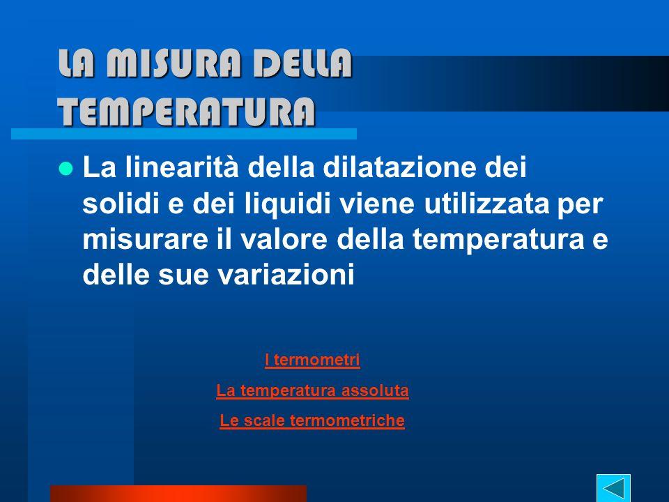 LA MISURA DELLA TEMPERATURA La linearità della dilatazione dei solidi e dei liquidi viene utilizzata per misurare il valore della temperatura e delle